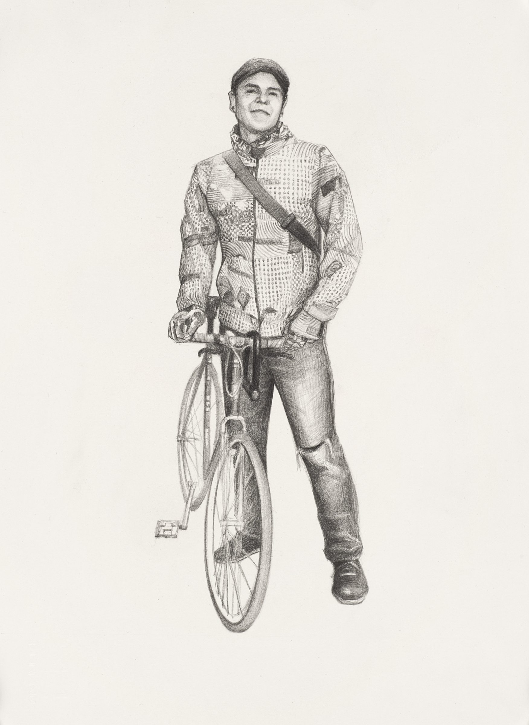 "Indie the Bike Guy with the Crazy Jacket pencil on paper, 10"" x 5.5"""
