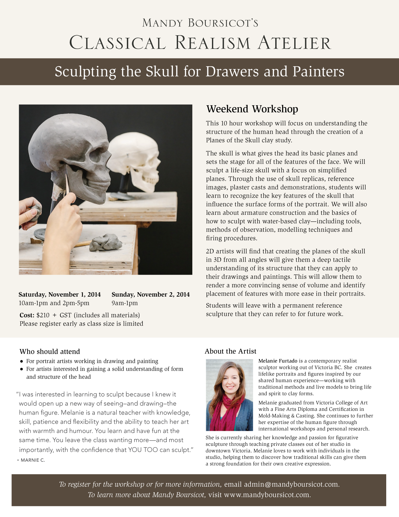 November Weekend Workshop: Sculpting for Drawers and Painters