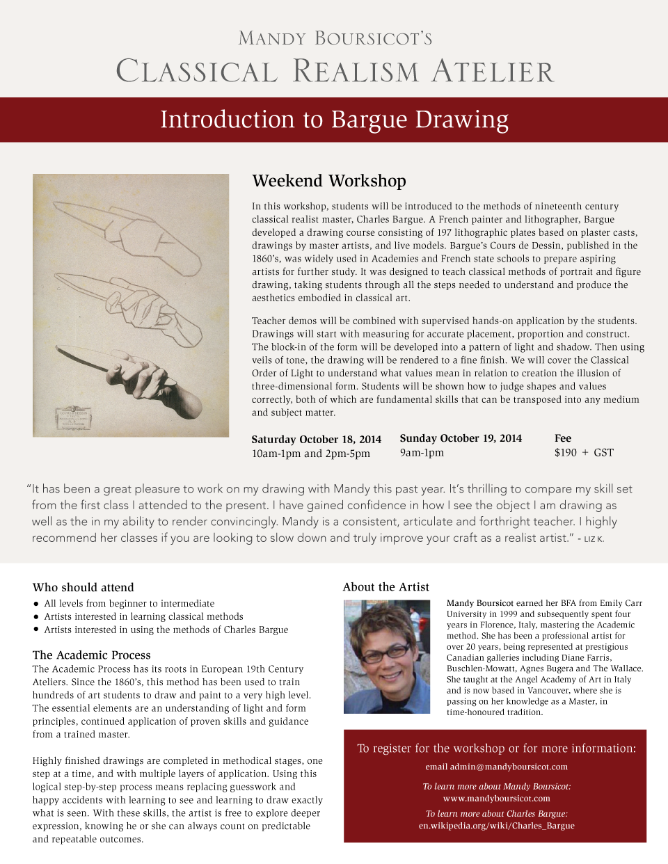 October Weekend Workshop: Introduction to Bargue Drawing