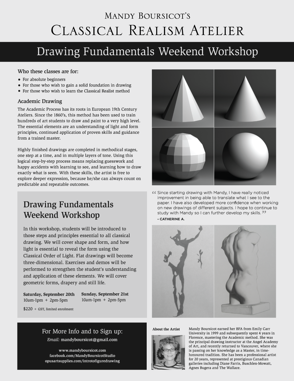 September 2014 Weekend Workshop:  Drawing Fundamentals