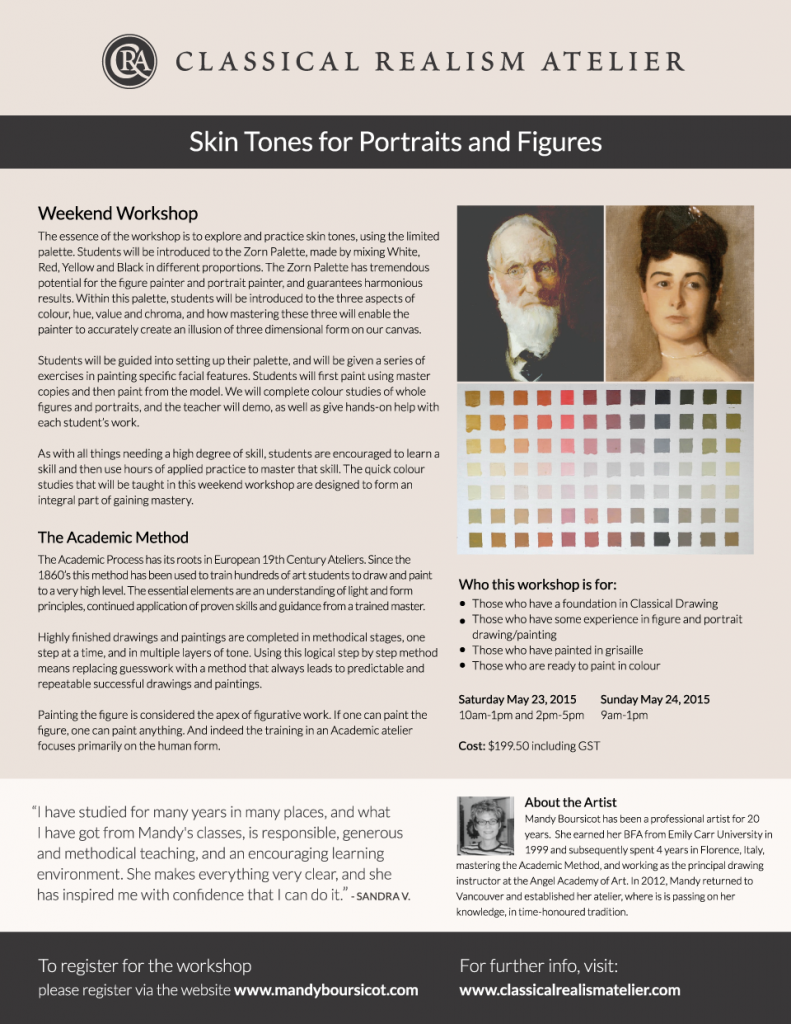 May Weekend Workshop: Skin Tones for Portraits and Figures